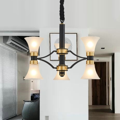 Black and Gold 6/12/16/20-Light Drop Pendant Modern Ribbed Glass Flared Ceiling Chandelier