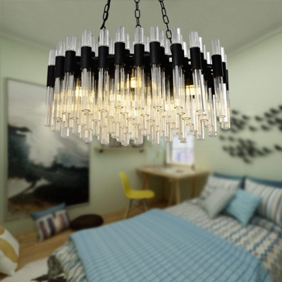 Black Drum Chandelier Lamp Contemporary 8 Heads Fluted Crystal Hanging Ceiling Light