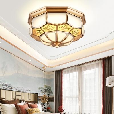 Brass LED Flush Mount Lamp Colonialism White Glass Faceted Ceiling Light for Living Room, 13