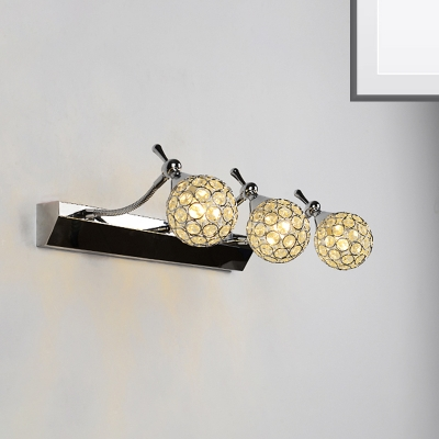 Clear Crystal Ball Wall Light Fixture Contemporary Stylish 3/4 Lights Black Finish Vanity Lamp, Warm/White Light