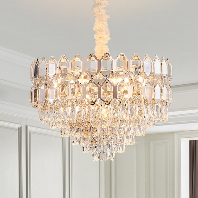 Crystal Block Tapered Hanging Light Contemporary 6/8 Heads 16
