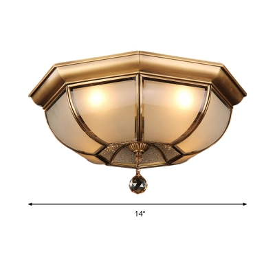 Dome Flush Light Fixture Postmodern Frosted Glass 3/4 Heads Brass LED Ceiling Lamp with Crystal Drop