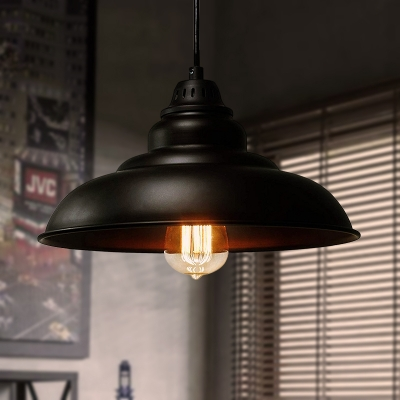 Industrial Style Saucer Hanging Ceiling Light Iron 1 Head Dining Room Pendant Lighting in Black, HL566075