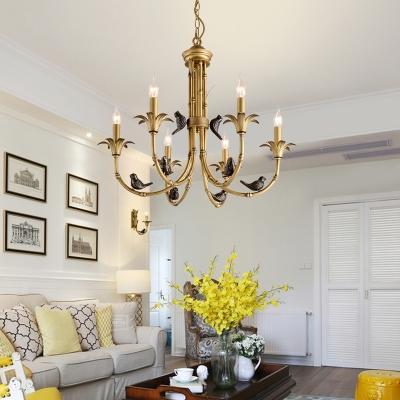 Metal Brass Suspension Lighting Fixture Candle 3/6/8 Lights Traditional Chandelier