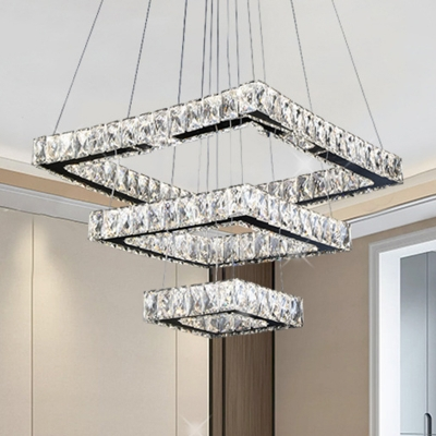Square Chandelier Lighting LED Crystal Contemporary Pendant Light Fixture in Black for Living Room