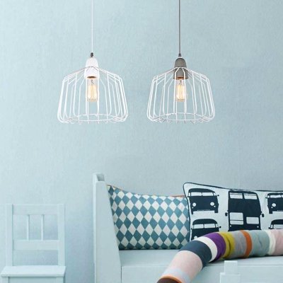 Vintage Cage Shade Light Pendant Metal Grey/White Finish 1 Light Bedroom Hanging Fixture, White;gray, HL565773