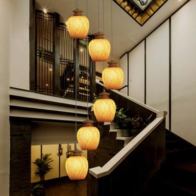 Weave Lantern Pendant Lighting Asian Modern 1 Head Bamboo Suspension Lamp in Wood