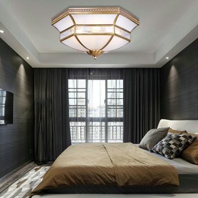 Cream Glass Brass Ceiling Fixture Scallop 3/4 Bulbs Colonialist Flush Mount Lighting for Living Room
