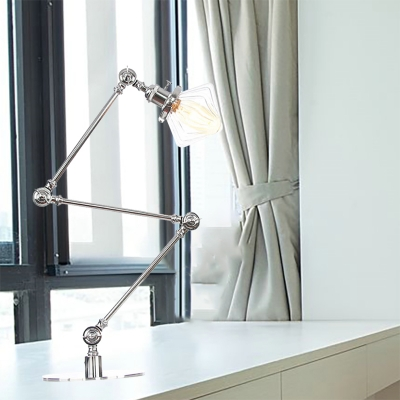 Diamond Shade Bedroom Table Lamp Amber/Clear Glass 1 Head Industrial Style Adjustable Table Light in Black/Brass Finish