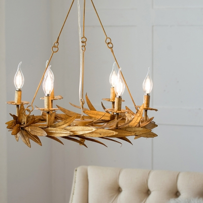 Gold Candle Style Ceiling Chandelier Classical Metal 6 Lights Living Room Pendant Lighting