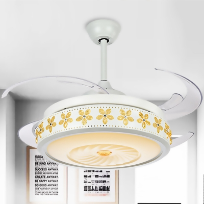 Metallic Vortex Ceiling Fan Light Modern Stylish Led White Semi Flush Lamp With Amber Crystal Accent Beautifulhalo Com