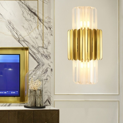 Modern Cylinder Wall Mount Lamp Clear Crystal 2 Heads Bedroom Wall Lighting Fixture in Gold