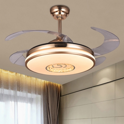 Modern Led Ceiling Fan Light Gold Drum Semi Flush Mount Lighting With Metal Shade In White Color Changing Light Wall Remote Control Frequency Conversion Beautifulhalo Com