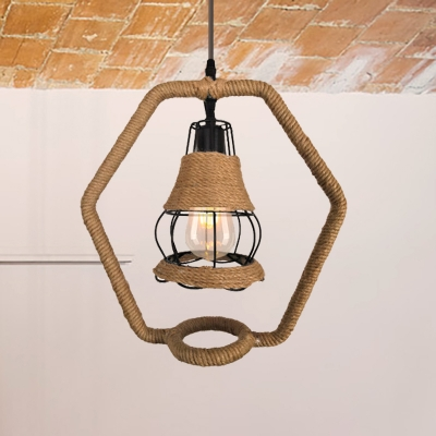 Roped Hexagon Pendant Lighting Lodge Style 1 Bulb Height Adjustable Black Hanging Lamp with Wire Cage Shade