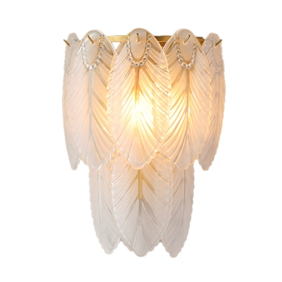 Shell Shaped Hallway Wall Sconce Light White Ribbed Glass 2/3 Lights Wall Mounted Light