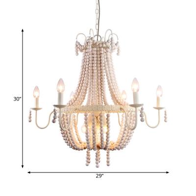 Transitional Beaded Basket Chandelier Light 6/9-Head White Wood Hanging Ceiling Pendant