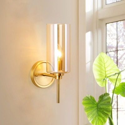 1 Bulb Clear Glass Wall Sconce Lighting Colonial Brass Cylindrical Indoor Wall Light Fixture