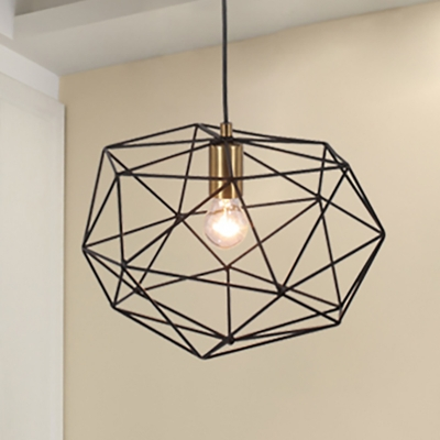Wide Wire Frame Pendant Light Fixture Industrial Style Metallic 1 Bulb Dining Room Ceiling Lamp in Black, HL571753