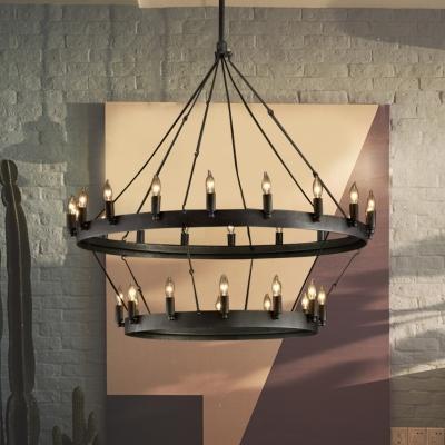 30 Lights Dining Room Hanging Light Vintage Black Chandelier Lamp with Candle Metal