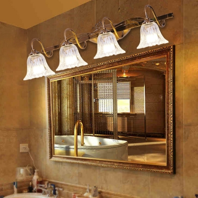 Bell Vanity Wall Sconce Modern Style Clear Crystal 2/3/4-Head Bathroom Wall Light with Gooseneck Arm in Brown