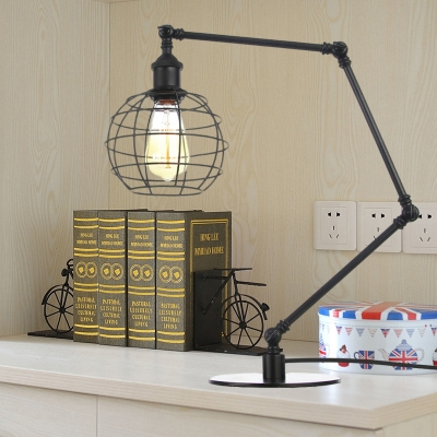 Black/Brass Finish Wire Guard Table Lighting Industrial Style 1 Bulb Metallic Table Lamp with Global Shade