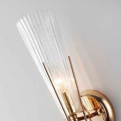 Black/Brass Torch Sconce Lighting 1 Light Modernism Metal and Clear Crystal Mini Wall Lamp