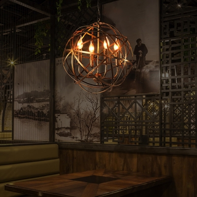 Brass 4 Lights Ceiling Pendant Vintage Metal Globe Chandelier Lighting for Dining Room