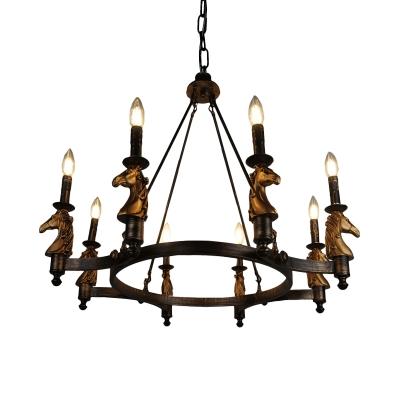 Candle Living Room Pendant Lighting Rustic Metal 8 Lights Black Chandelier Lamp