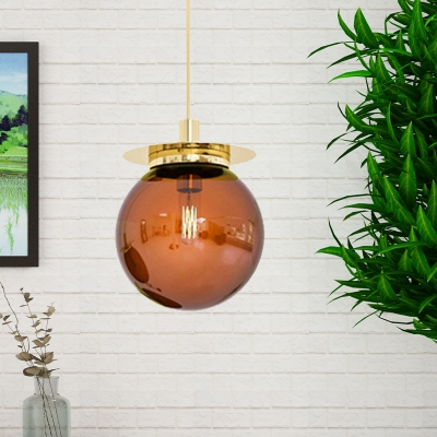 Contemporary Globe Pendant Ceiling Light Orange/Blue/Clear Glass 1 Head Dining Room Hanging Lamp Kit