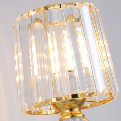 Crystal Block Barrel Wall Mount Light Tri-Sided Clear Crystal 1/2 Lights Gold Wall Lamp for Bedroom