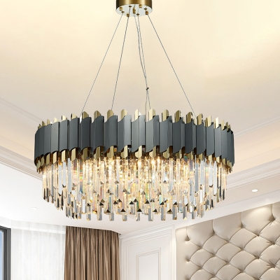 Crystal Layered Oblong Pendant Lighting Contemporary 8/12 Lights Grey Hanging Chandelier