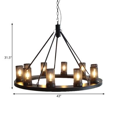 Cylinder Dining Room Hanging Light Kit Traditional Metal 10 Lights Black Ceiling Chandelier