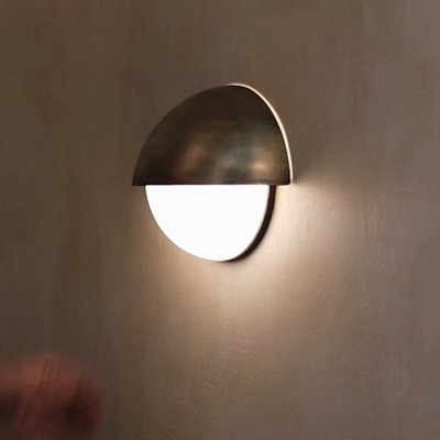 Dome Shape Wall Sconce Contemporary Metallic 1 Light Bronze Finish Wall Light Fixture