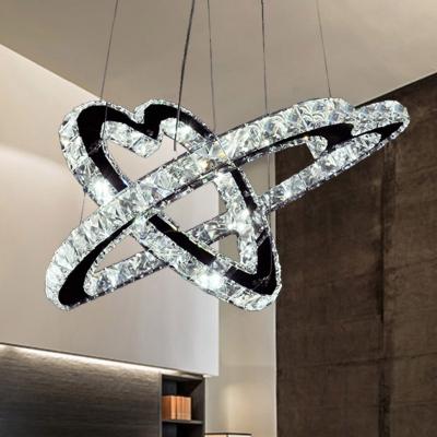 Heart Crystal Block Hanging Light Modernism Stainless-Steel LED Chandelier Light in Warm/White Light, 14