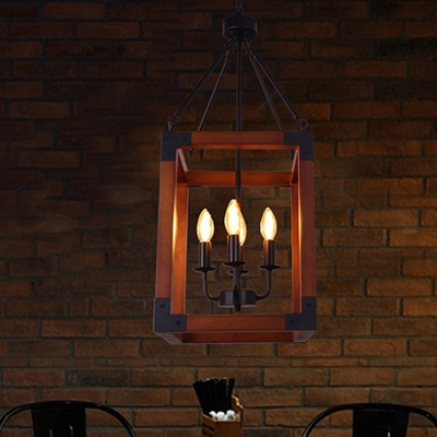 Metal Dark Wood Hanging Pendant Candle 4 Lights Classic Ceiling Chandelier with Square Frame