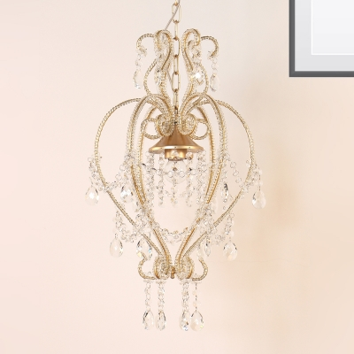 Metallic Scroll Frame Pendant Light Victorian style Single Light Gold Ceiling Lamp with Dangling Crystal Accents