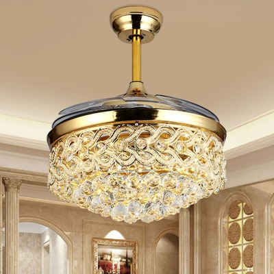 Modern Teardrop Crystal Ceiling Fan Light LED Semi Flush Mount Light Fixture in Gold/Chrome, Wall/Remote Control/Frequency Conversion, HL576661