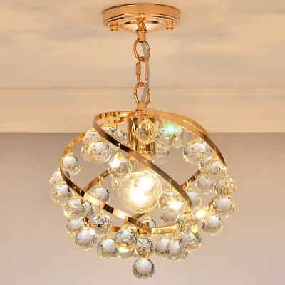 Orbit Chandelier Lamp with Clear Crystal Accent Modernist 1 Light Hanging Light in Gold for Foyer, HL565617