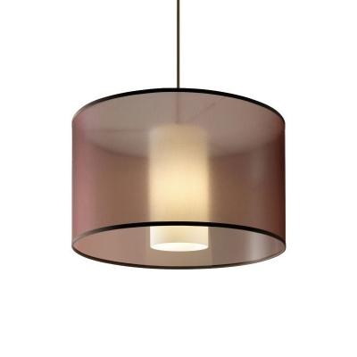 Traditional Drum Shape Pendulum Pendant Single Coffee Fabric Suspension Lamp, 16
