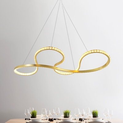 Twisted Ceiling Chandelier Modern Crystal LED Gold Pendant Light Fixture for Dining Room in Warm/White Light