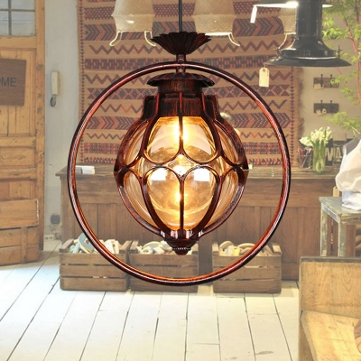 Vintage Globe Pendant 1 Light Amber Glass Suspended Lighting Fixture in Copper with Iron Ring