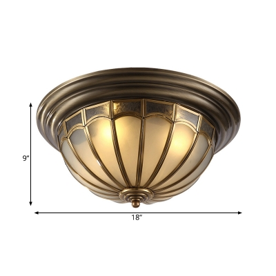 Antique Brass 4 Heads Flushmount Colonialist Frosted Glass Dome Ceiling Mount Light Fixture for Bedroom