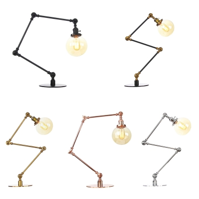 Black/Brass Finish Global Table Lamp Industrial Stylish 1 Head Amber/Clear Glass Table Light for Bedroom