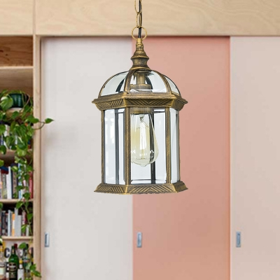 Black/Bronze/Gold Lantern Ceiling Hanging Light with Clear Glass Shade 1 Bulb // W Vintage Outdoor Lighting, Black;gold;antique bronze, HL564463