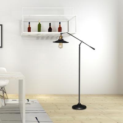 Black/Brozne Flared Shade Standing Floor Light Industrial Style 10