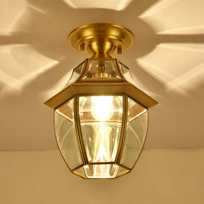 Brass 1 Head Flush Mount Lamp Colonialism Clear Bevel Glass Lantern Ceiling Fixture for Living Room