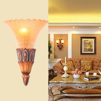 Brown 1-Light Flush Mount Colonialism Textured Glass Flared Wall Light Fixture for Living Room