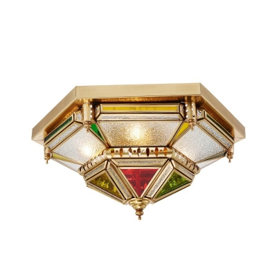 Colonialism Prismatic Ceiling Mounted Light 6 Bulbs Bubble Glass Flush Mount Chandelier in Brass for Living Room