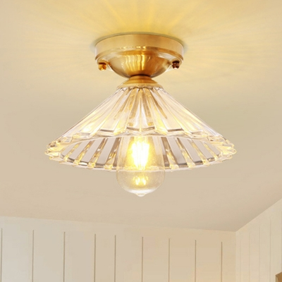 Cone Flush Mount Lamp with Clear Striped Glass Shade Vintage 1 Light Flush Ceiling Light in Brass, HL565698