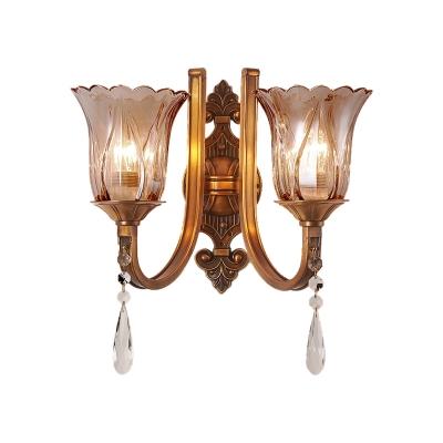 Flower Wall Light Vintage Cognac Glass 1/2 Heads Brass Sconce Light Fixture with Crystal Drop